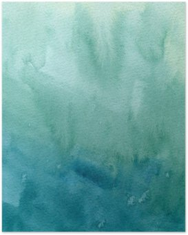 Hand drawn turquoise blue, green watercolor abstract paint texture. Raster gradient splash background. Poster