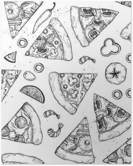 Poster Hand drawn vector illustration - pizza. Types de pizza: pepperoni, Margherita, Hawaiian, champignons. le style Sketch