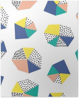 Poster Hand getrokken naadloos patroon met penseelstreken en geometrische figuur.