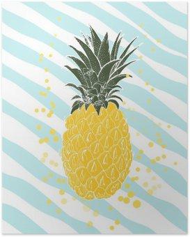 Poster Handritad ananas. vektor bakgrund