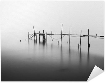 A Long Exposure of an ruined Pier in the Middle of the Sea.Processed in B&W. Poster HD