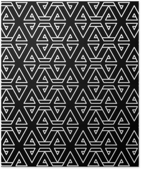 Abstract geometric black and white hipster fashion pillow pattern Poster HD
