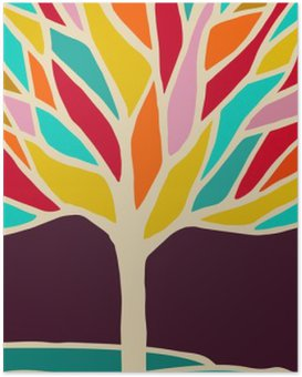 Abstract tree illustration with colorful branches Poster HD