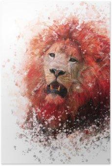 Póster HD Acuarela cabeza de león