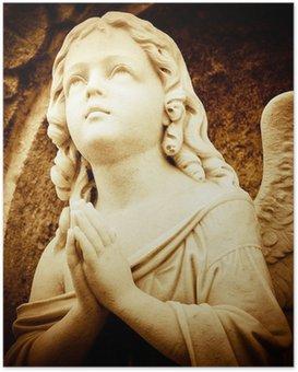 Poster HD Ange de prière dans les tons sépia
