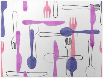Poster HD Aquarelle couverts pattern dans des couleurs rose et violet. Vecteur de fond avec des cuillères, fourchettes et couteaux.
