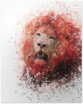 Poster HD Aquarelle Lion Head
