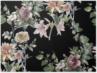 Poster HD Aquarelle sur papier des feuilles et des fleurs, motif sans couture sur fond sombre,