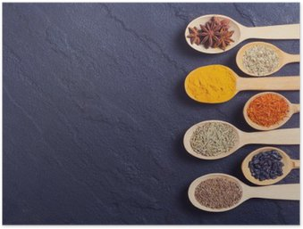 assortment of indian spices Poster HD