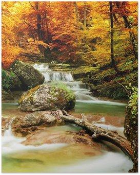 Poster HD Automne ruisseau bois avec des arbres jaunes