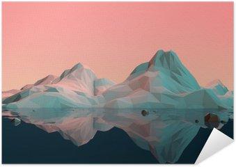Póster HD Baja-Poly paisaje de la montaña 3D con agua y Reflexión