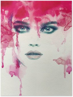 Beautiful woman. watercolor illustration Poster HD