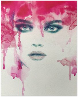 Poster HD Belle femme. illustration d'aquarelle
