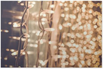 bright gorgeous beautiful christmas lights on the window in the Poster HD