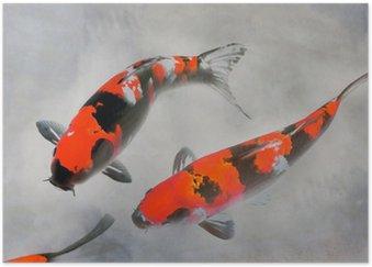 Poster HD Calico Koi Fish Aquarelle Illustration