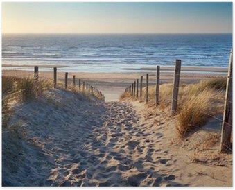 Póster HD Camino a la playa del mar del Norte en sol de oro