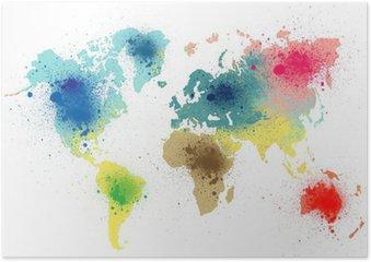 Poster HD Carte du monde coloré avec des éclaboussures de peinture