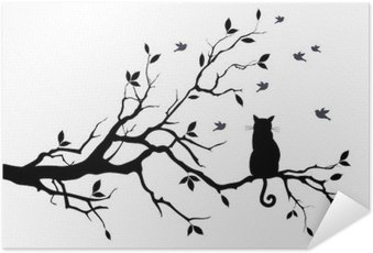 Poster HD cat on a tree with birds, vector