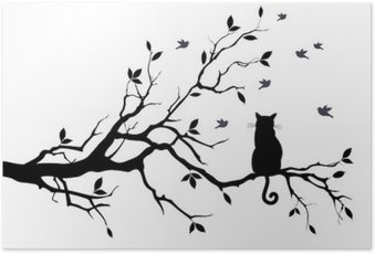 cat on a tree with birds, vector Poster HD