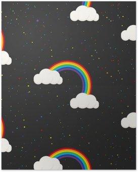 Poster HD Ciel nocturne imaginaire kid pattern. confetti étoiles, les nuages et arc-en-boy fond d'écran gris et conception de tissu.