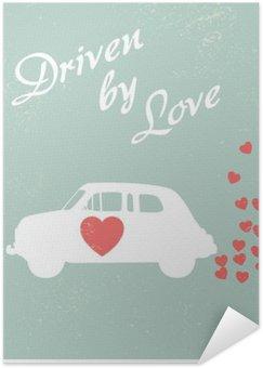 Póster HD Coches de época impulsada por el amor diseño de la postal romántica para la tarjeta de San Valentín.
