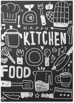 Póster HD Cocina elementos garabatos mano línea trazada icono, eps10