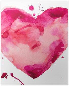 Poster HD Coeur d'aquarelle. Concept - l'amour, les relations, l'art, la peinture