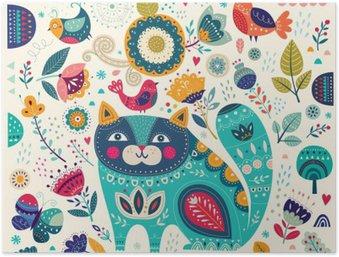 Póster HD Colorida ilustración vectorial con el gato hermoso, mariposas, pájaros y flores