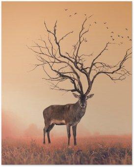 Poster HD Conceptuel cerf Deer, un arbre sec cerf rouge cerf