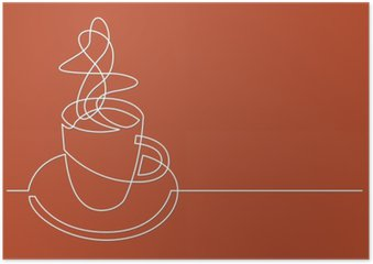 continuous line drawing of cup of coffee Poster HD