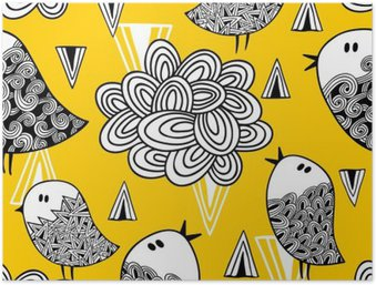 Creative seamless pattern with doodle bird and design elements. Poster HD