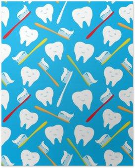 Poster HD Des dents blanches et brosses à dents colorées.