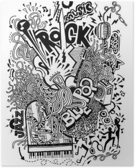 Poster HD Dessin à la main Doodle, Collage avec des instruments de musique