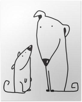 Poster HD Deux dessin animé parent chien brun et enfant
