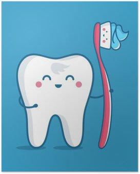Póster HD Diente con cepillo de dientes