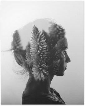 Póster HD Doble exposición creativa con el retrato de la muchacha joven y flores, blanco y negro