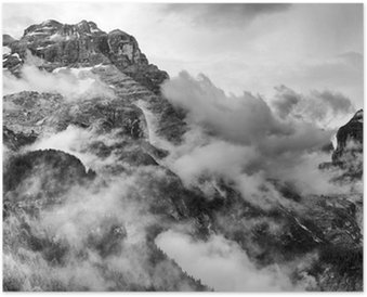 Dolomites Mountains Black and White Poster HD