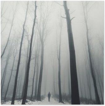 Póster HD El hombre en el bosque con árboles altos en invierno