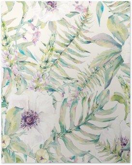 Poster HD Feuille d'aquarelle seamless fougères et fleurs