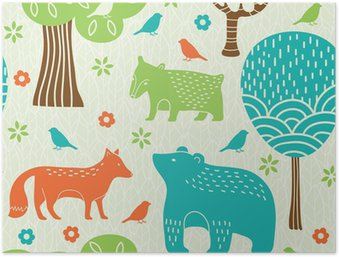 Forest animals seamless pattern Poster HD