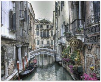 Gondel, Palazzi und Bruecke, Venedig, Italien Poster HD