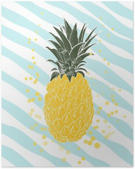 Poster HD Hand drawn ananas. Vecteur de fond