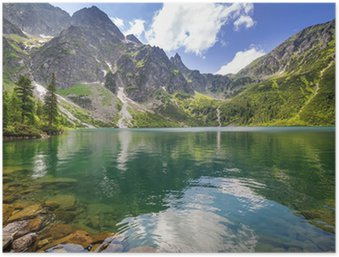 Póster HD Hermoso paisaje de las montañas Tatra y el lago en Polonia