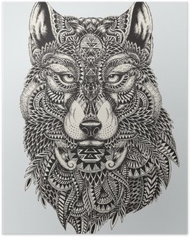 Highly detailed abstract wolf illustration Poster HD