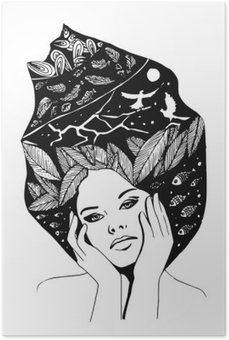 illustration, graphic black-and-white portrait of woman Poster HD