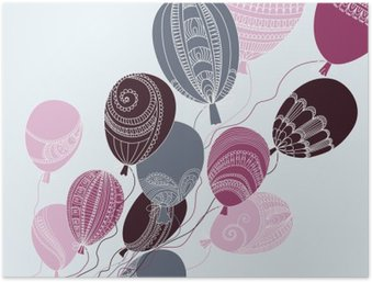 Illustration with colorful flying balloons Poster HD
