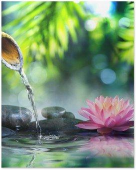 Poster HD Jardin zen avec des pierres noires et nénuphar rose