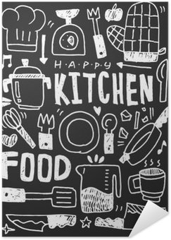 Poster HD Kitchen elements doodles hand drawn line icon,eps10