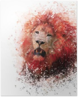 Lion Head watercolor Poster HD