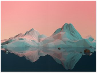 Low-Poly 3D Mountain Landscape with Water and Reflection Poster HD
